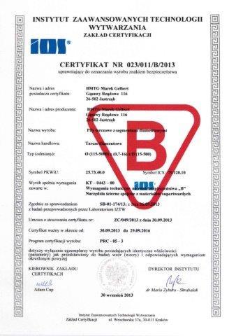 Certyfikat B dla BMTG