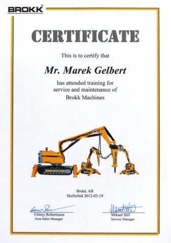 Certyfikat Brokk dla BMTG