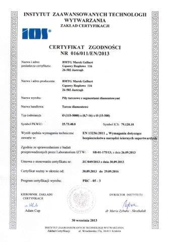 Certyfirkat EN13236 dla BMTG