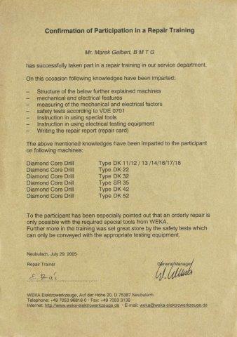 Certyfikat WEKA dla BMTG